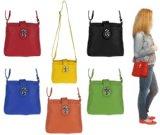 Made in Italy echt Leder Schultertasche Tasche City Bag CrossOver Umhängetasche Daisy13 23x20x8 cm (BxHxT) (Schwarz)