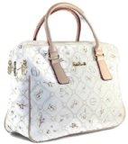 #577 Giulia Pieralli Damen Glamour Handtasche Damentasche Tasche Henkeltasche Kunstleder Weiss Braun Beige Schwarz (Weiss)