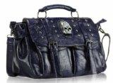 Damen Navy Blau Totenkopf Studded Satchel Schulranzen Designer Umhängetasche Handtasche KCMODE