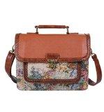 Ecosusi Damen Handtasche Frauen Designer Vintage-Leder-Satchel Schultertasche Handtasche Aktentasche braun