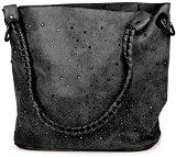 styleBREAKER Handtaschen Set mit Strassapplikation im Sternenhimmel Design, 2 Tachen 02012013, Farbe:Schwarz