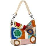 CASPAR Damen Handtasche / Schultertasche mit bunten Kreisen und Rechtecken, Farbe:beige